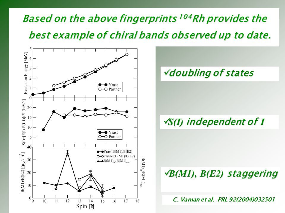 Based on the above fingerprints 104Rh provides the best example of chiral bands observed up to date.