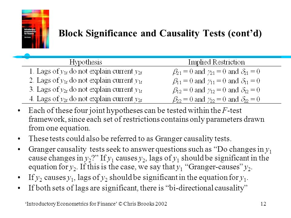 Block Significance and Causality Tests (cont'd)