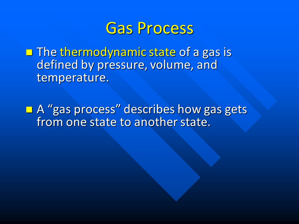 Gas Process The thermodynamic state of a gas is defined by pressure, volume, and temperature.