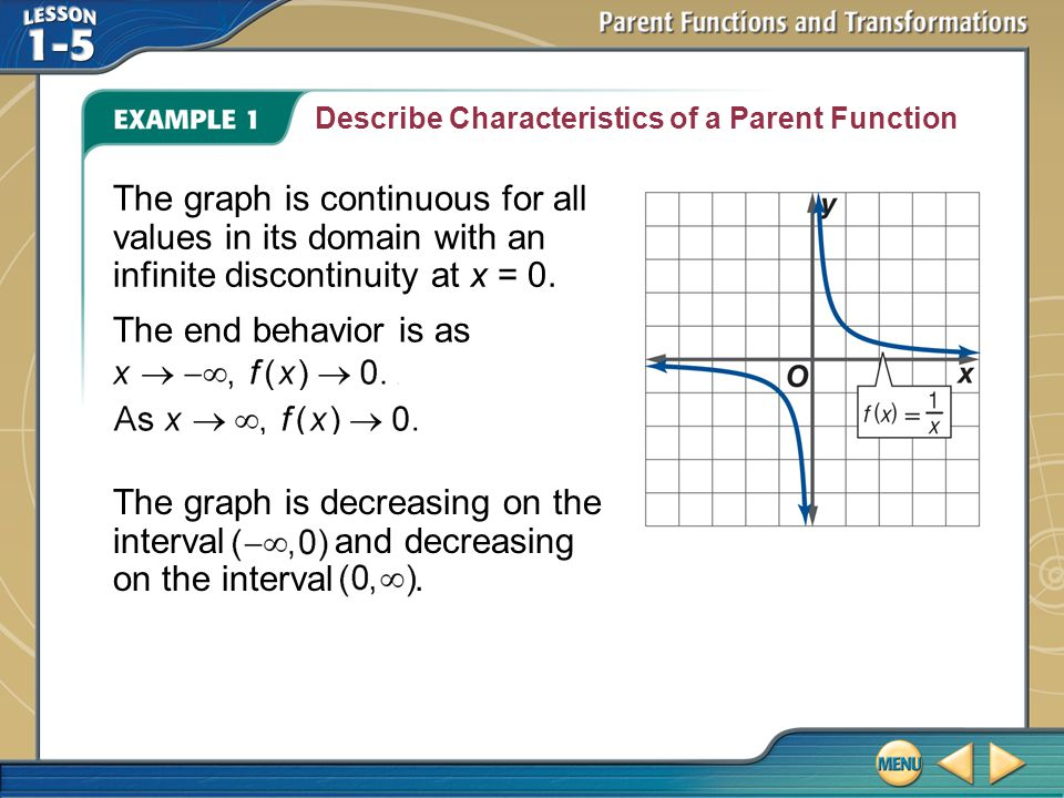 Describe Characteristics of a Parent Function