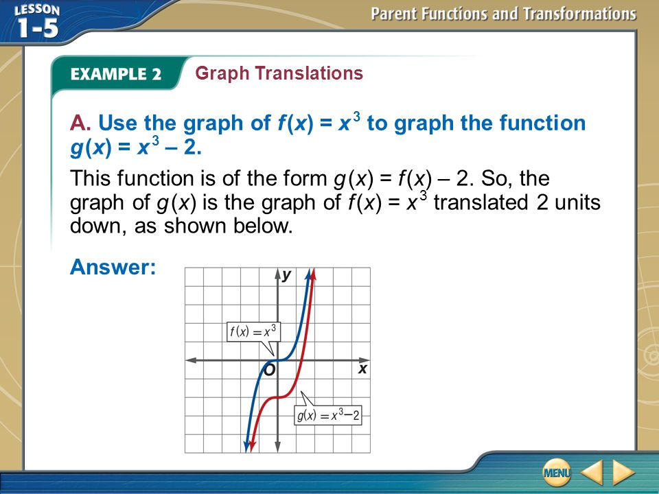A. Use the graph of f (x) = x 3 to graph the function g (x) = x 3 – 2.