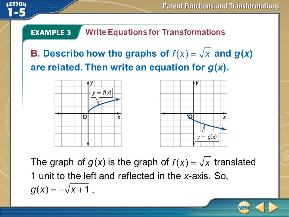 Write Equations for Transformations
