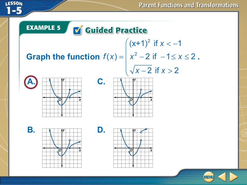 Graph the function . A. B. C. D. Example 5