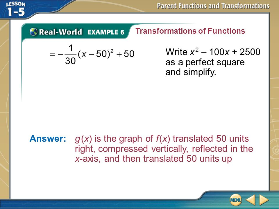 Write x 2 – 100x + 2500 as a perfect square and simplify.
