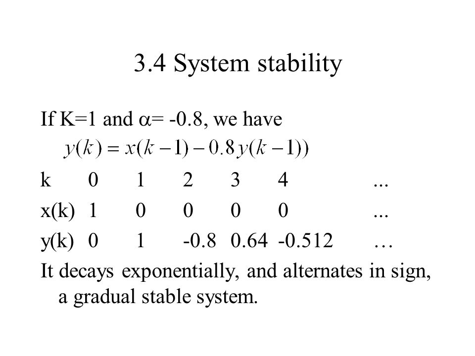 3.4 System stability If K=1 and = -0.8, we have k 0 1 2 3 4 ...