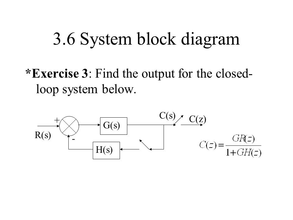 3.6 System block diagram *Exercise 3: Find the output for the closed-loop system below. G(s) H(s)