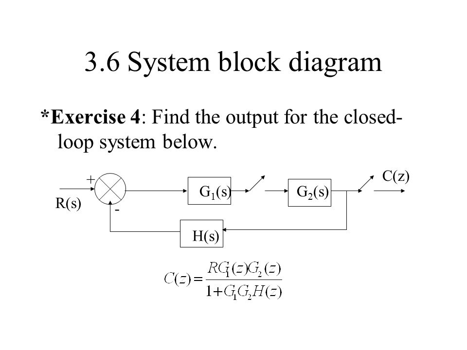 3.6 System block diagram *Exercise 4: Find the output for the closed-loop system below. G1(s) H(s)