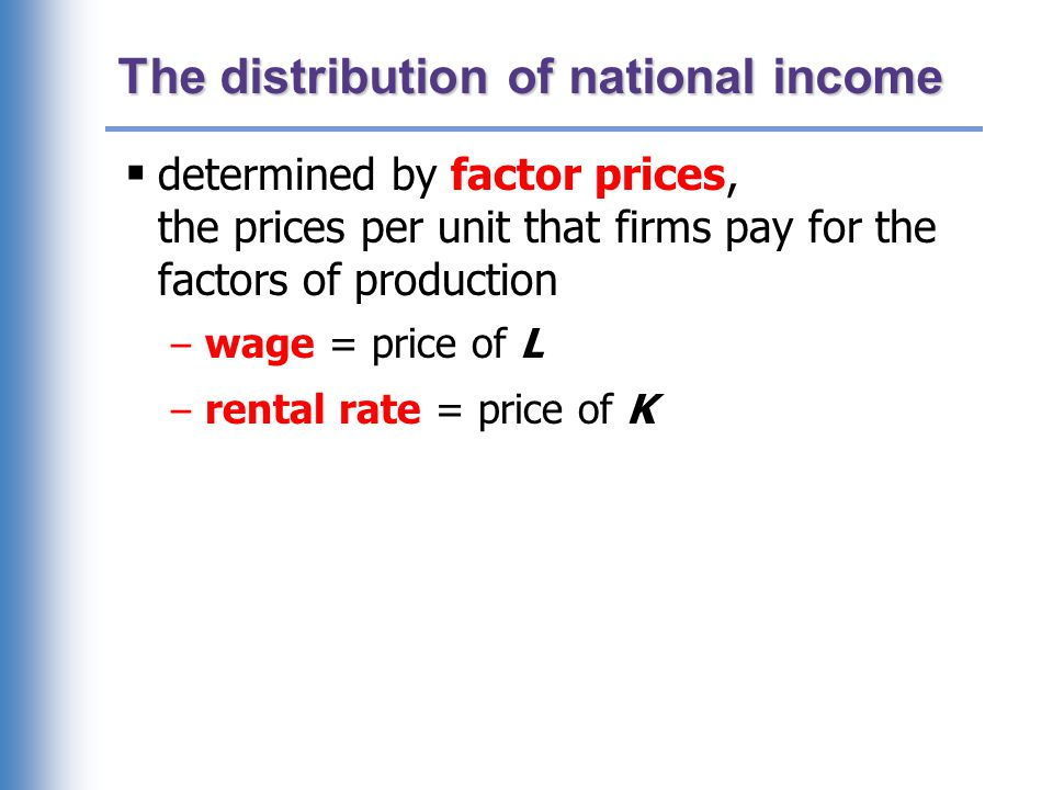 Notation W = nominal wage R = nominal rental rate P = price of output