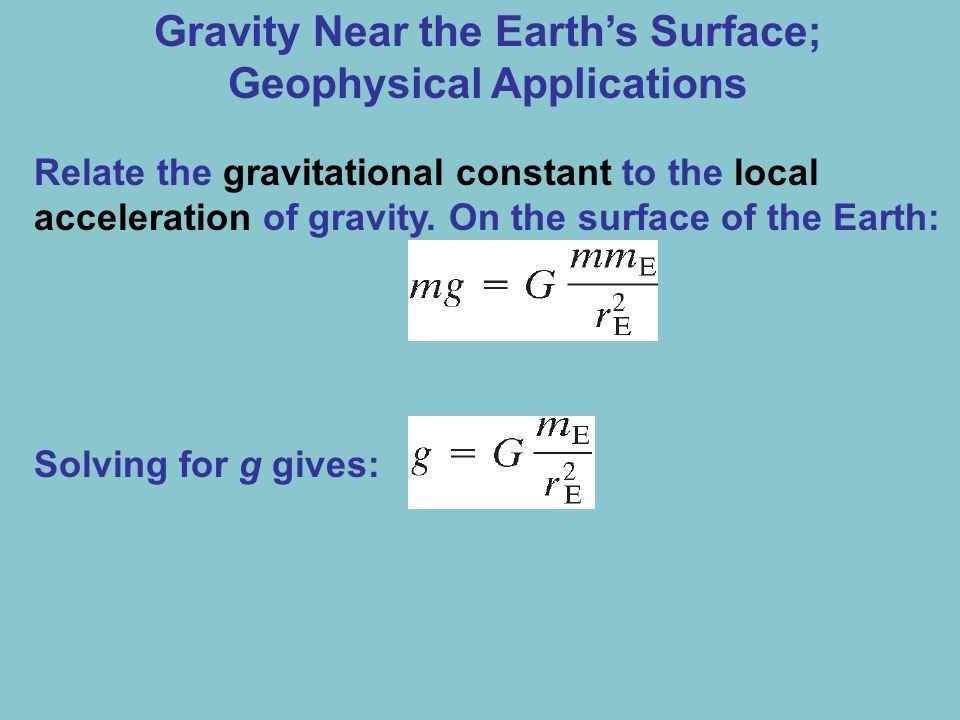 Gravity Near the Earth's Surface; Geophysical Applications