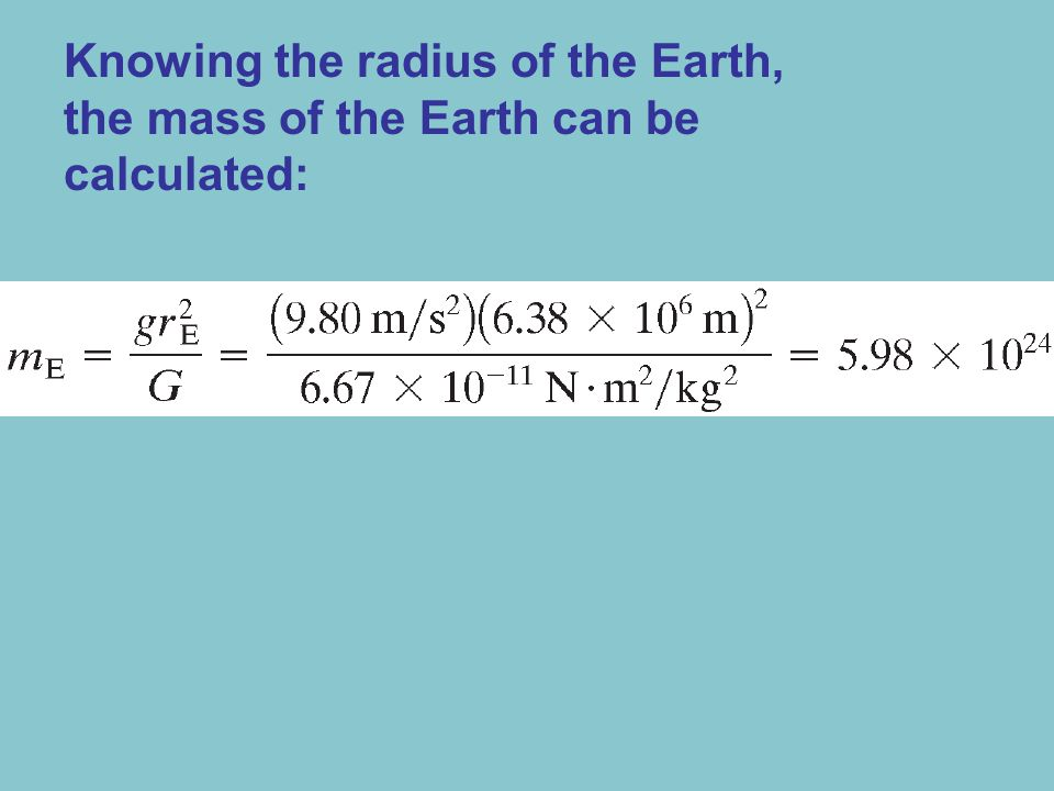Knowing the radius of the Earth, the mass of the Earth can be calculated: