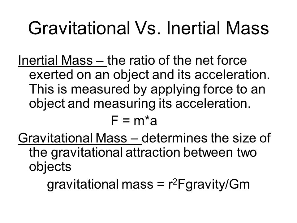 Gravitational Vs. Inertial Mass