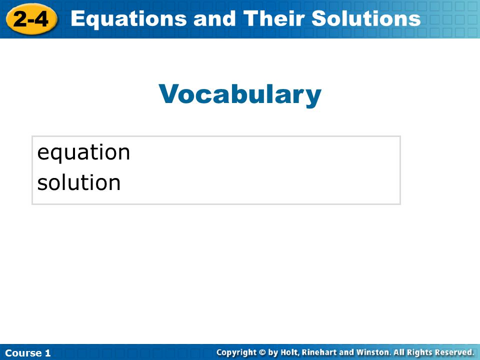 Vocabulary equation solution