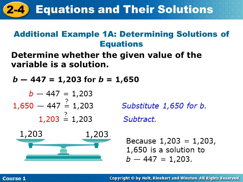 Additional Example 1A: Determining Solutions of Equations