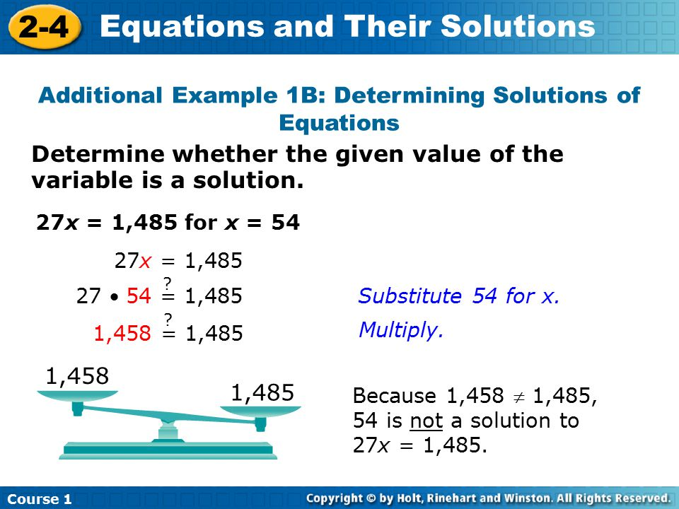 Additional Example 1B: Determining Solutions of Equations
