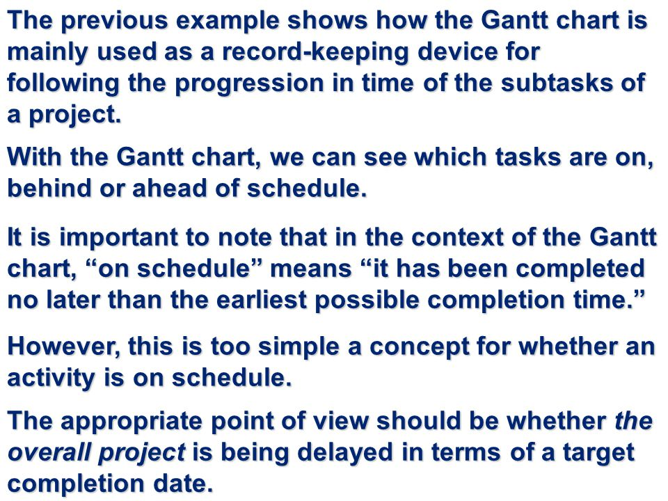 The previous example shows how the Gantt chart is mainly used as a record-keeping device for following the progression in time of the subtasks of a project.