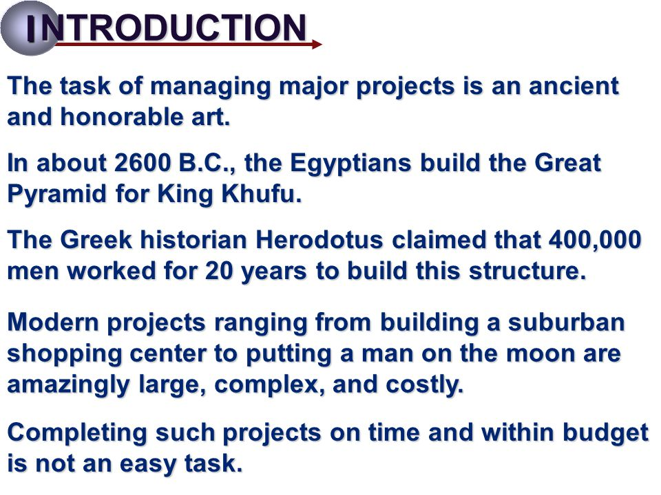 I NTRODUCTION. The task of managing major projects is an ancient and honorable art.