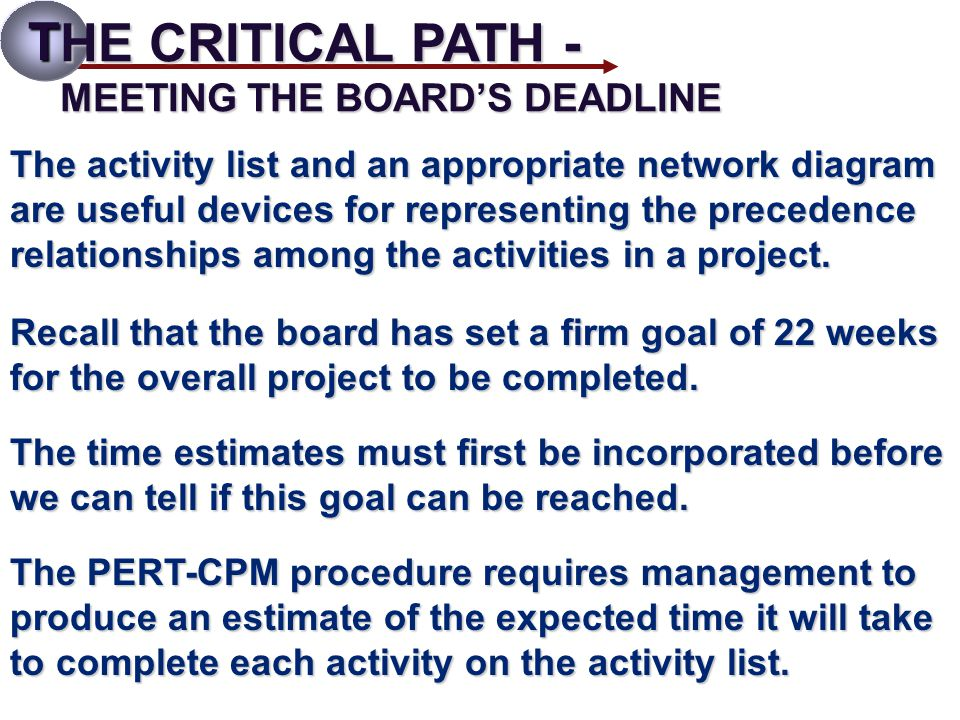 T HE CRITICAL PATH - MEETING THE BOARD'S DEADLINE