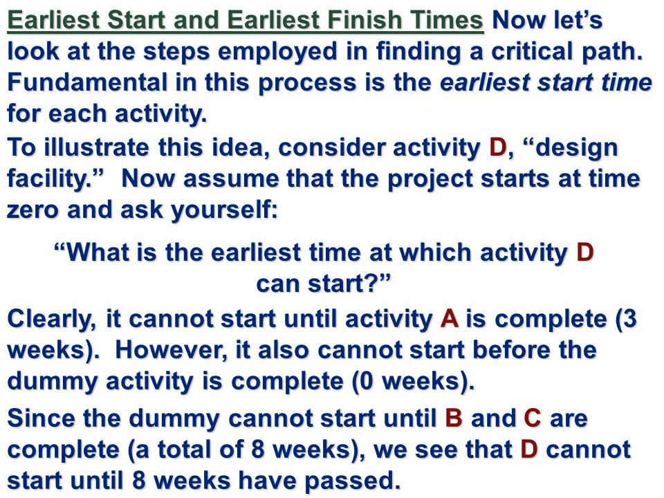 What is the earliest time at which activity D can start