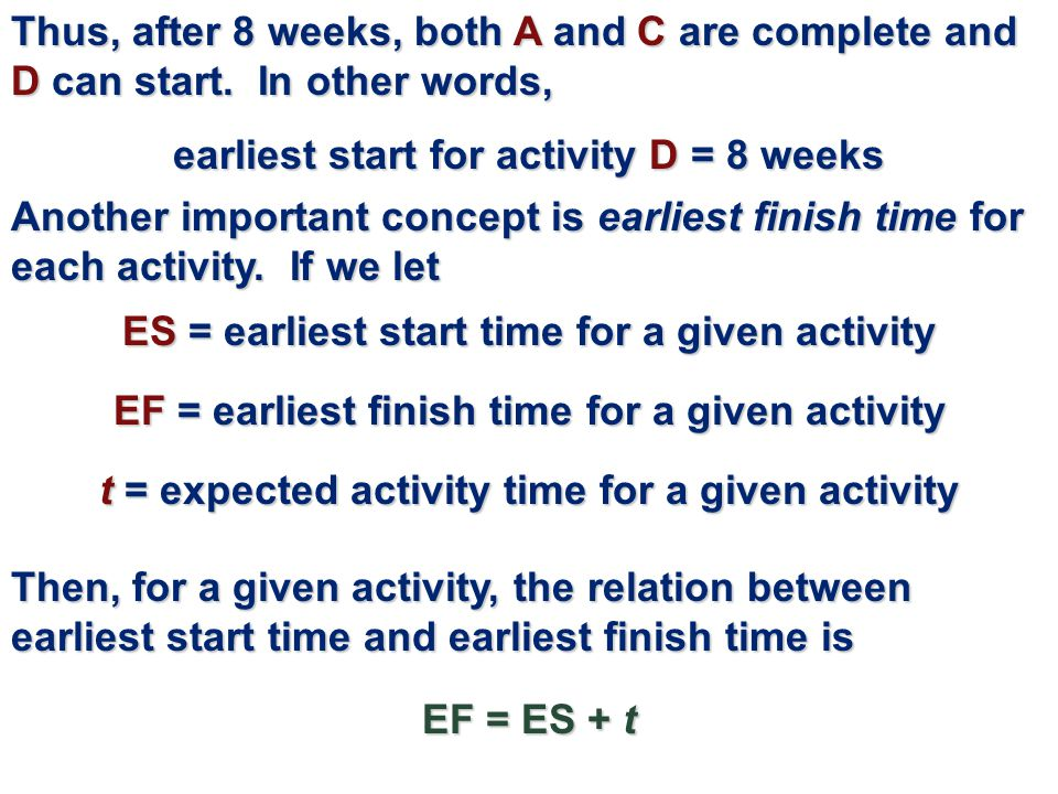 earliest start for activity D = 8 weeks