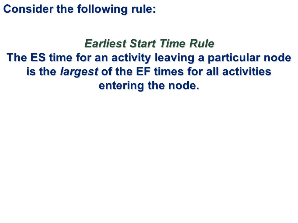 Earliest Start Time Rule