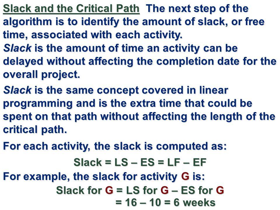Slack for G = LS for G – ES for G