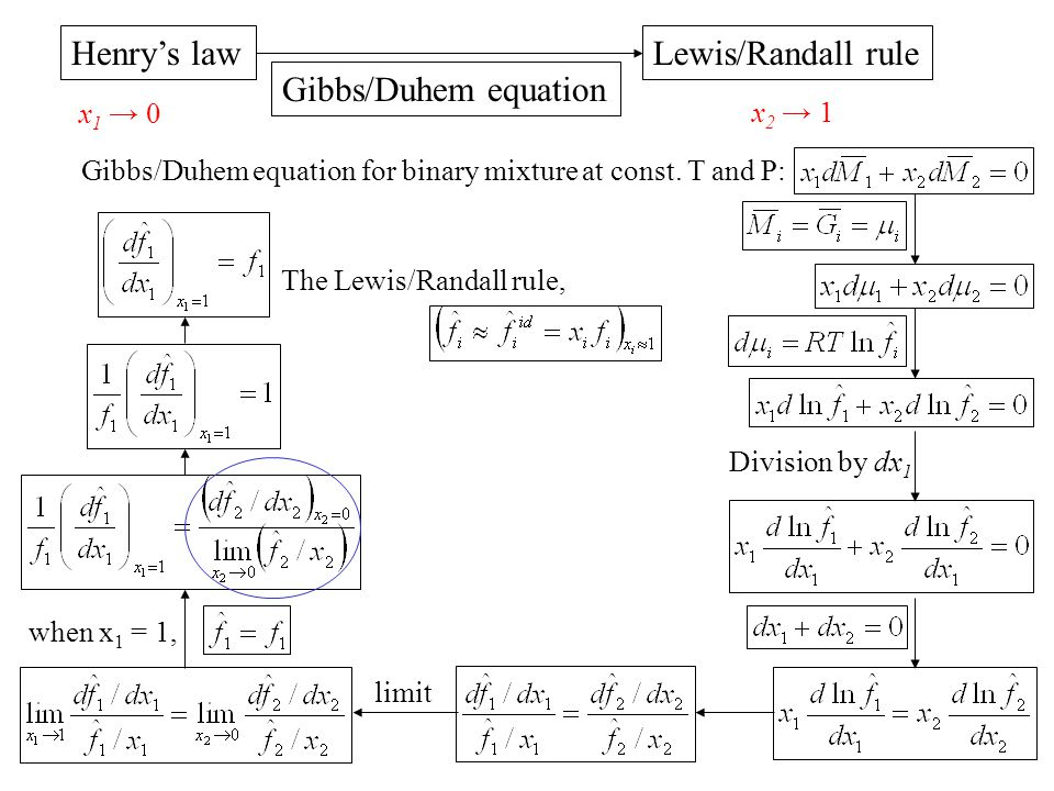 Henry's law Lewis/Randall rule Gibbs/Duhem equation x1 → 0 x2 → 1