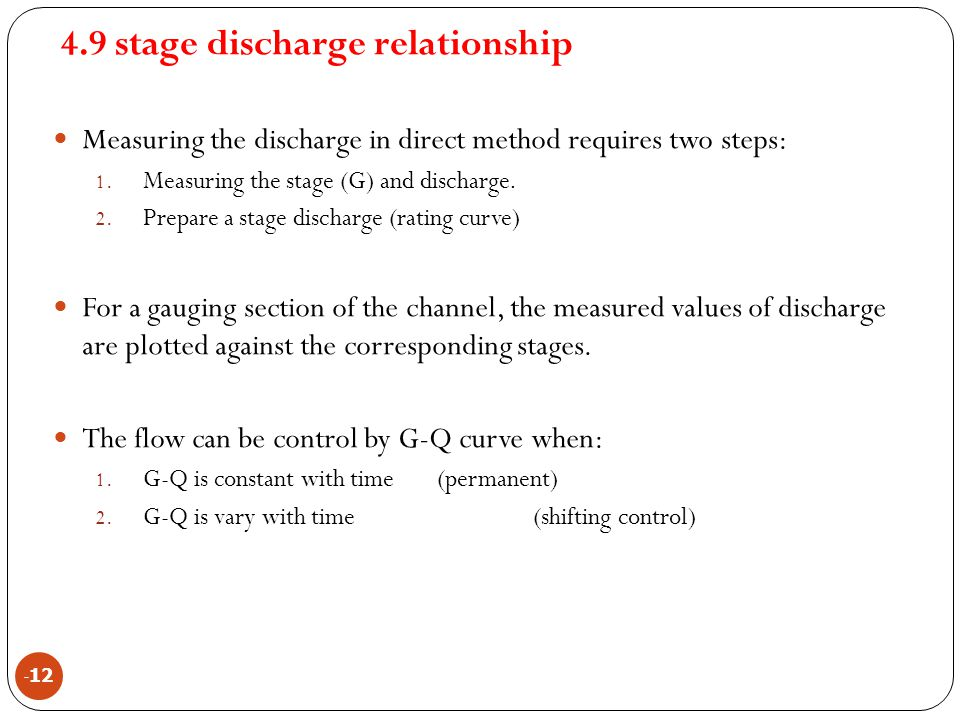 4.9 stage discharge relationship