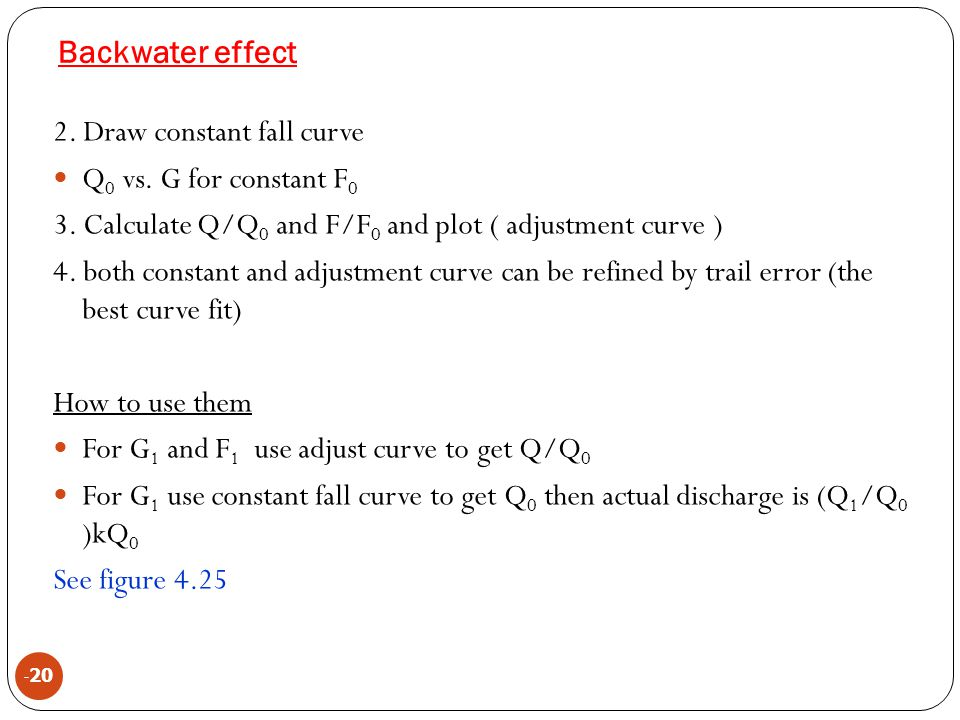 Backwater effect 2. Draw constant fall curve Q0 vs. G for constant F0