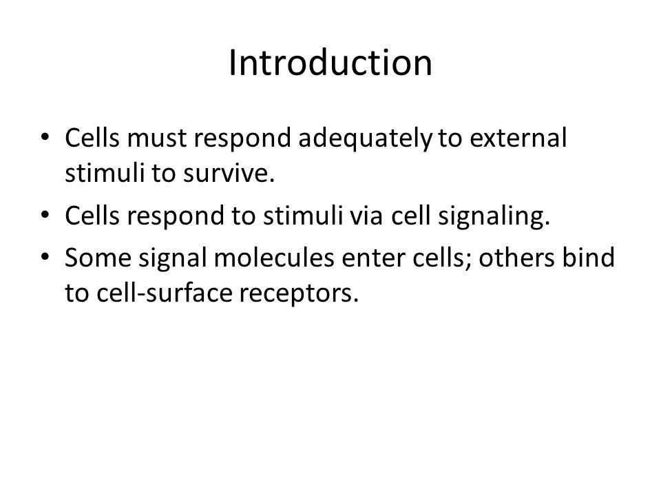 Introduction Cells must respond adequately to external stimuli to survive. Cells respond to stimuli via cell signaling.