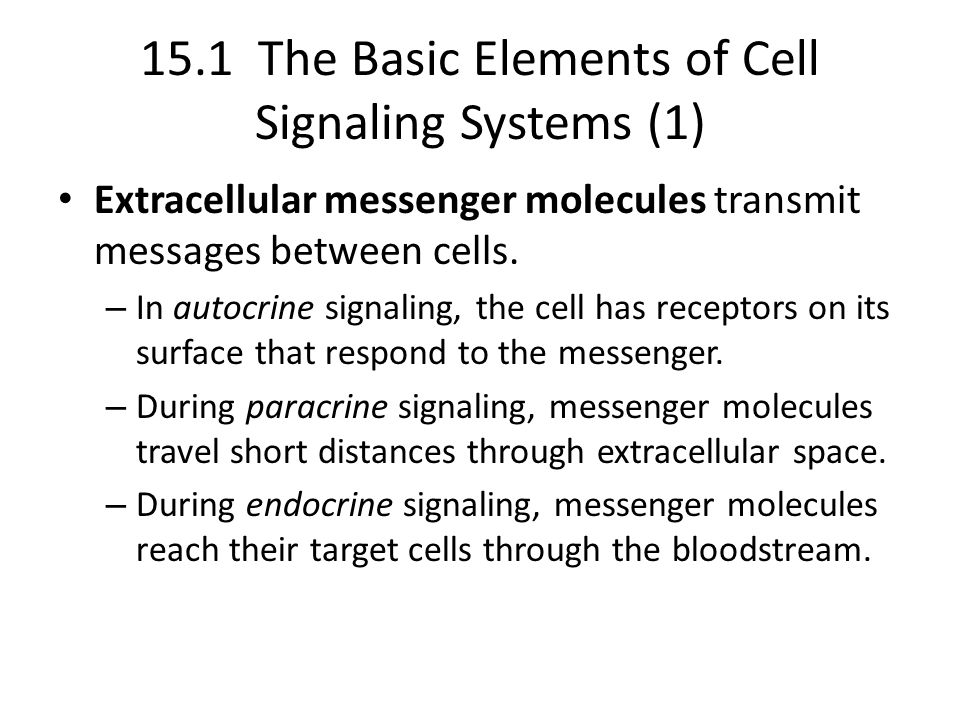15.1 The Basic Elements of Cell Signaling Systems (1)