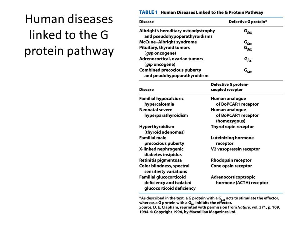Human diseases linked to the G protein pathway