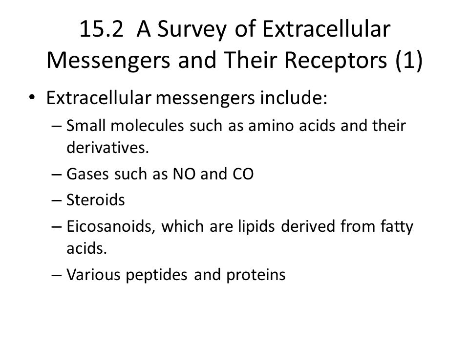 15.2 A Survey of Extracellular Messengers and Their Receptors (1)