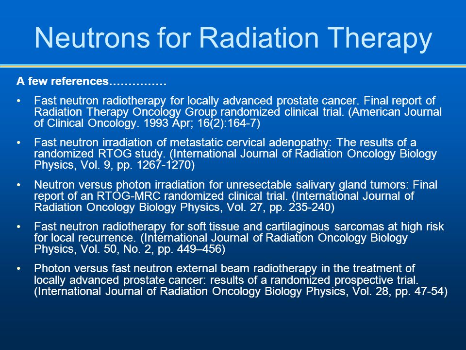 Neutrons for Radiation Therapy
