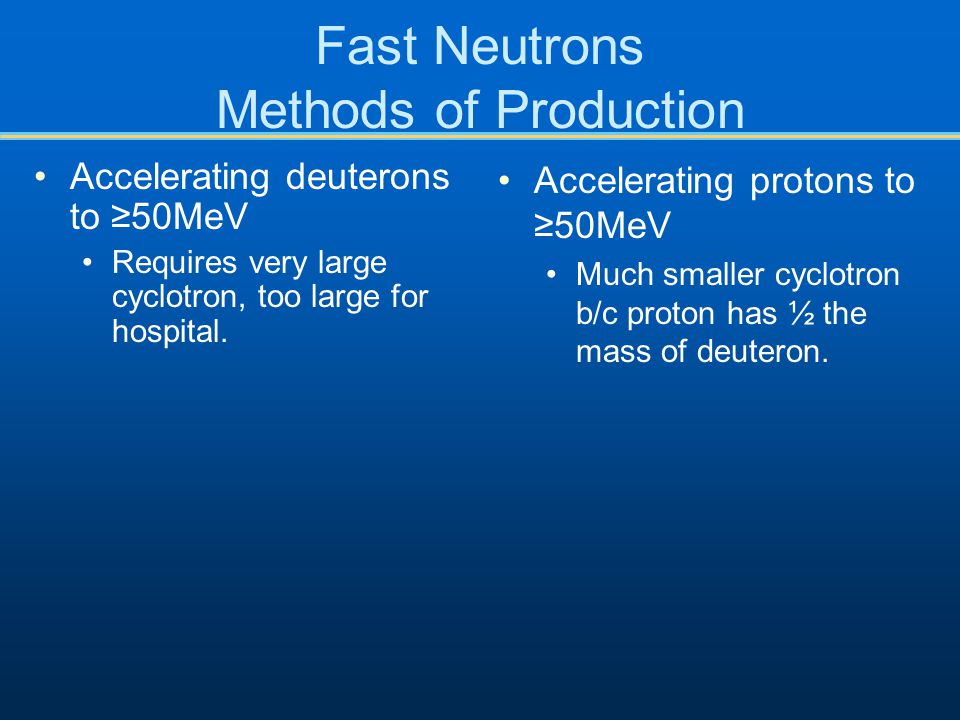 Fast Neutrons Methods of Production
