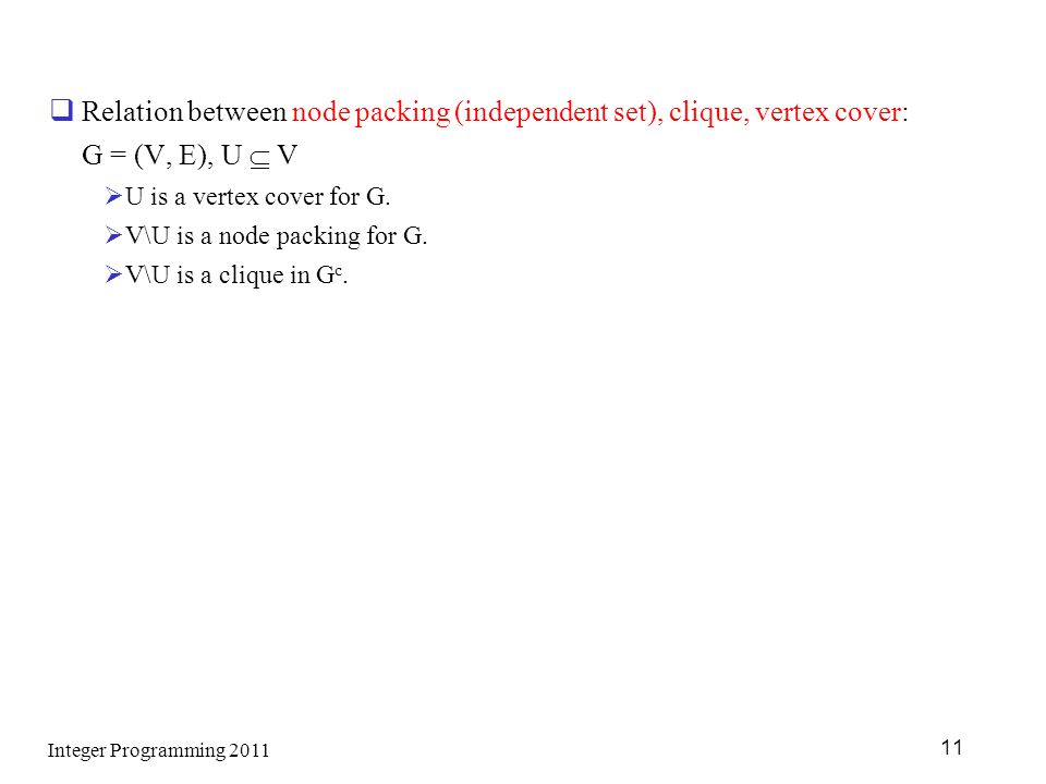 Relation between node packing (independent set), clique, vertex cover: