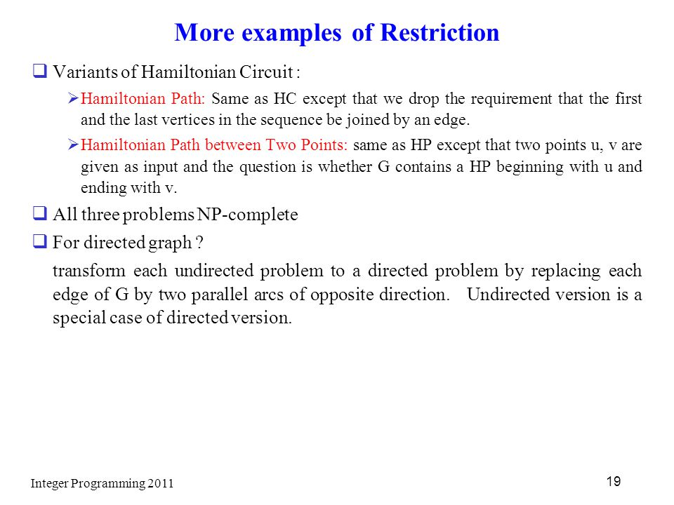 More examples of Restriction