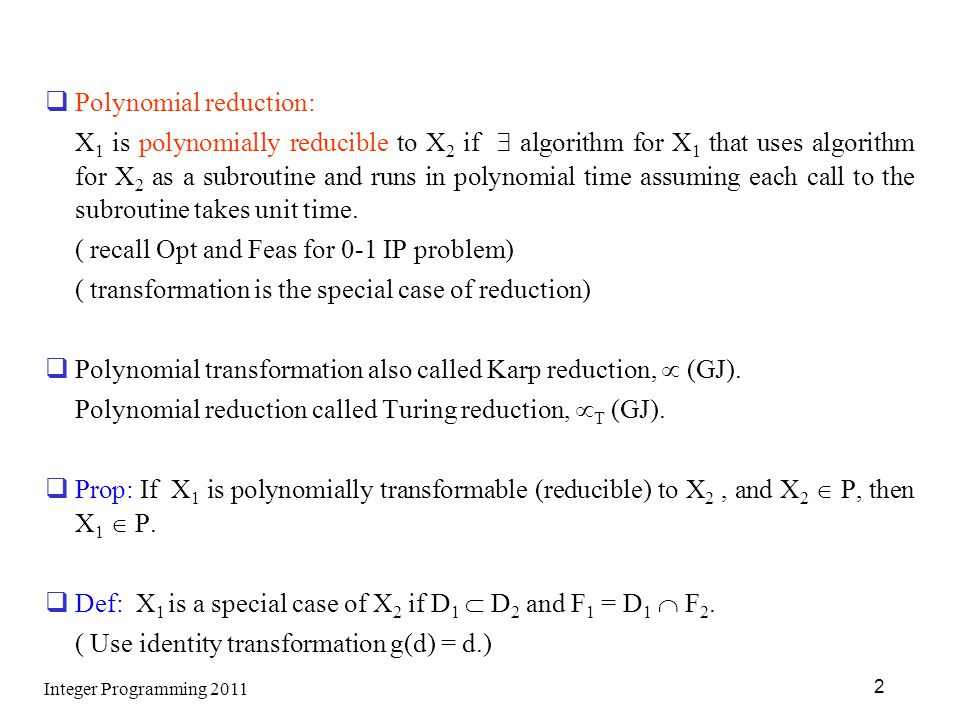 Polynomial reduction:
