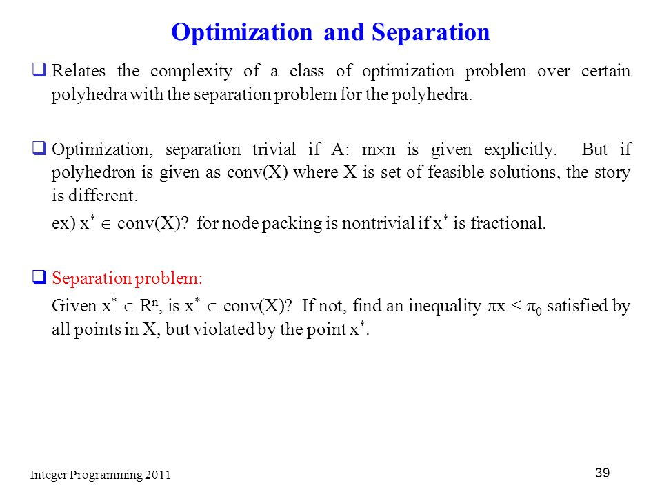 Optimization and Separation