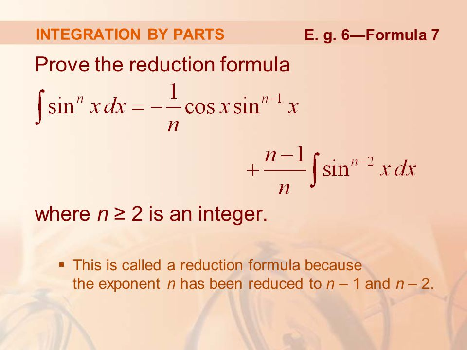 Prove the reduction formula