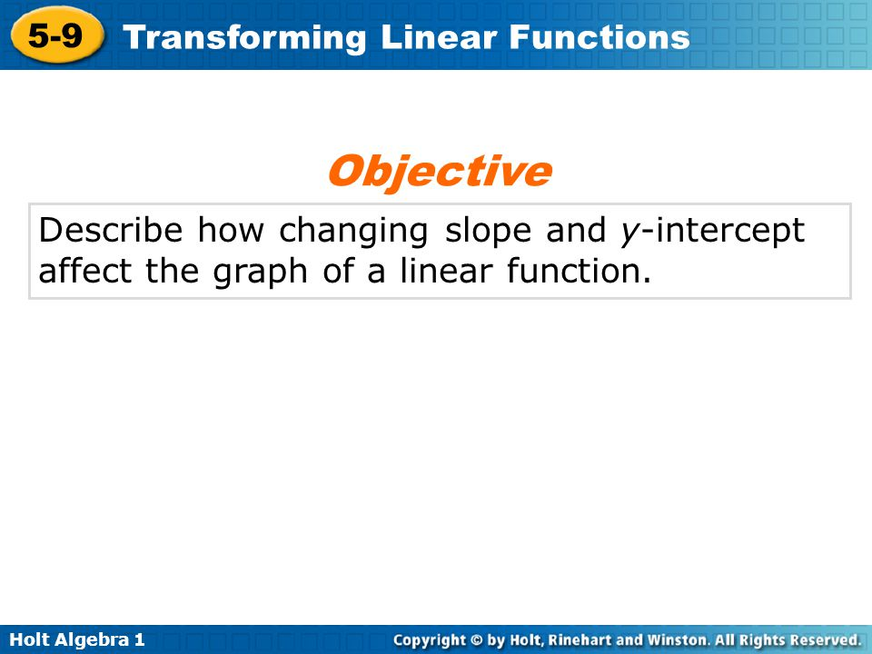 Objective Describe how changing slope and y-intercept affect the graph of a linear function.