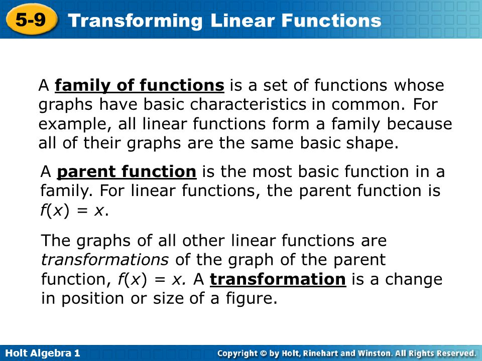 A family of functions is a set of functions whose graphs have basic characteristics in common. For example, all linear functions form a family because all of their graphs are the same basic shape.