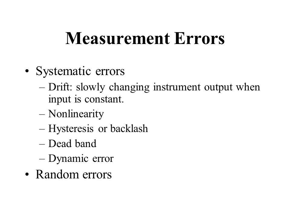 Measurement Errors Systematic errors Random errors