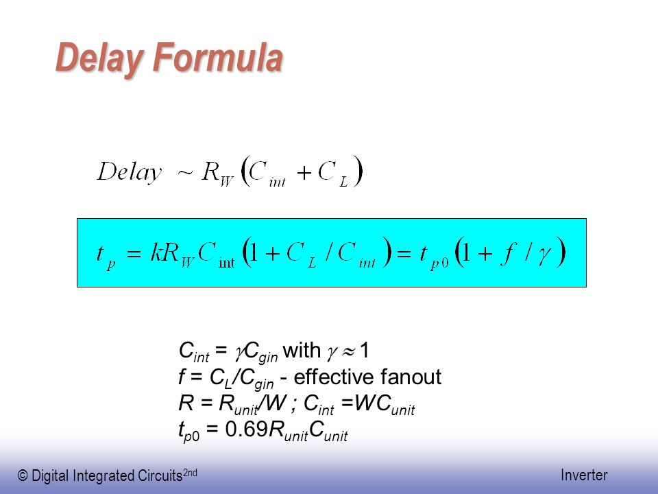 Delay Formula Cint = gCgin with g  1 f = CL/Cgin - effective fanout