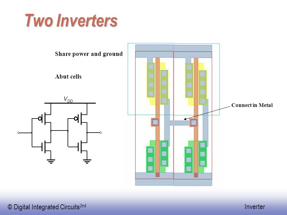 Two Inverters Share power and ground Abut cells Connect in Metal