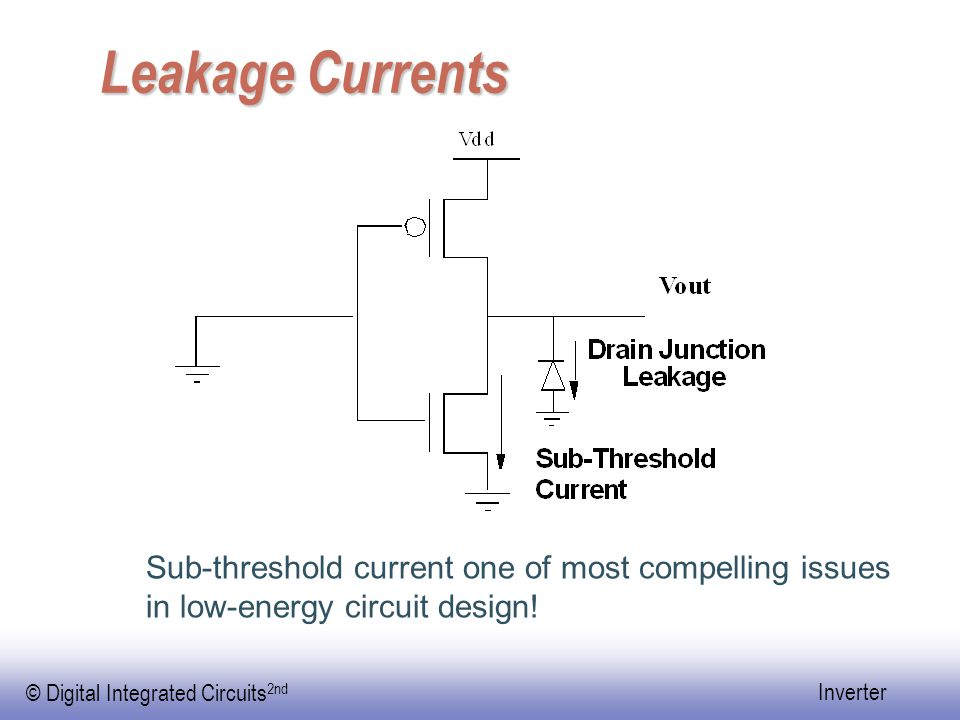 Leakage Currents Sub-threshold current one of most compelling issues