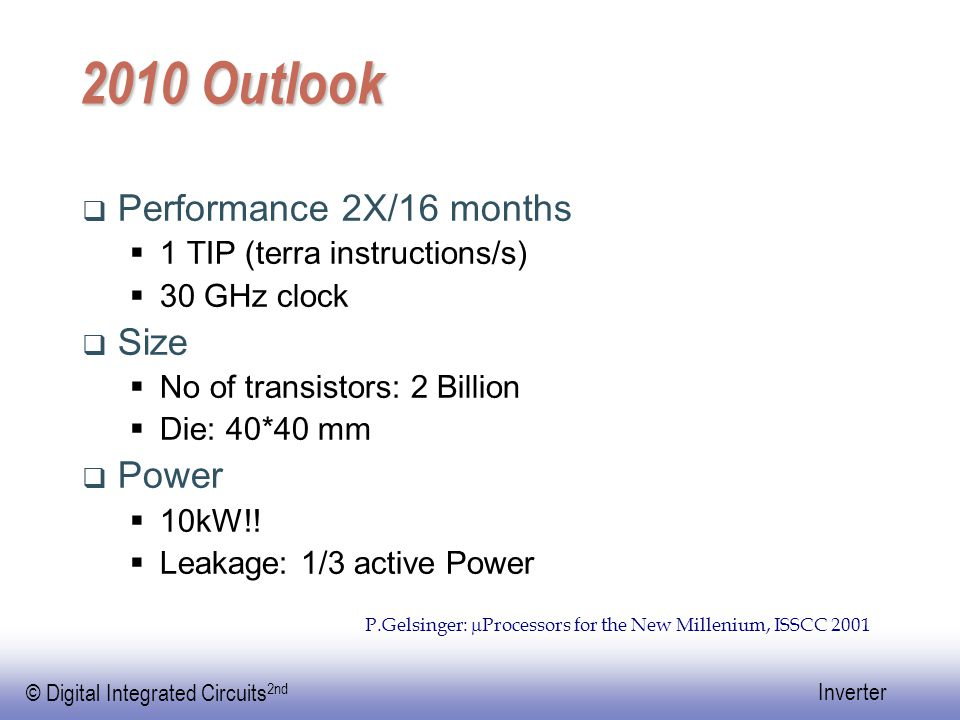 2010 Outlook Performance 2X/16 months Size Power