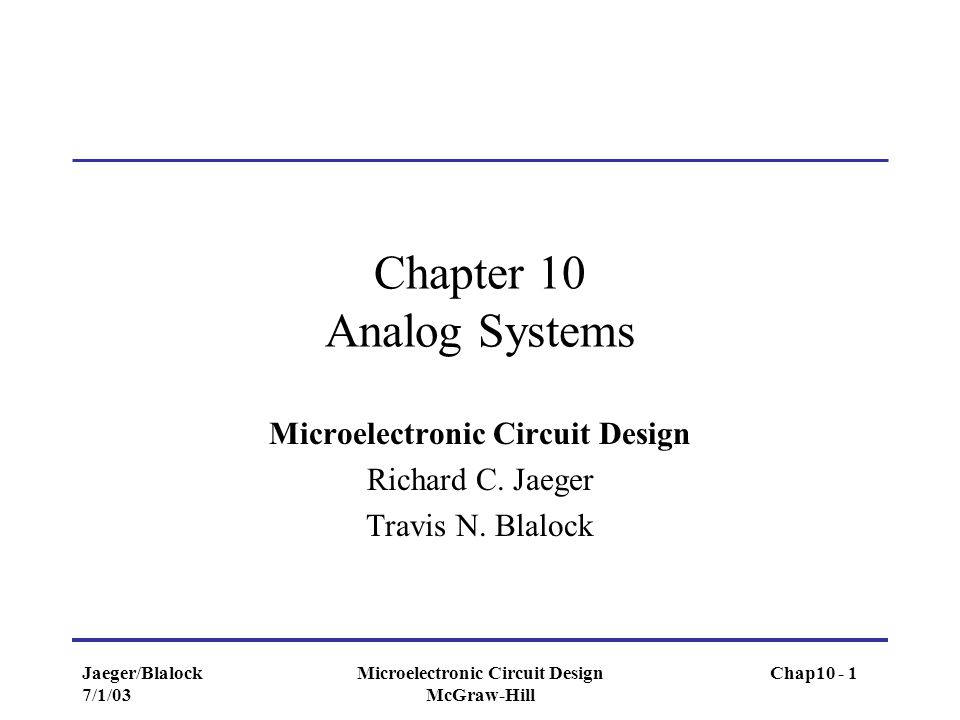 Chapter 10 Analog Systems