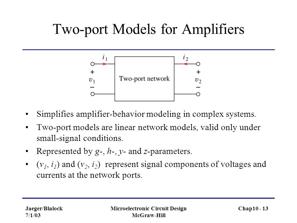 Two-port Models for Amplifiers