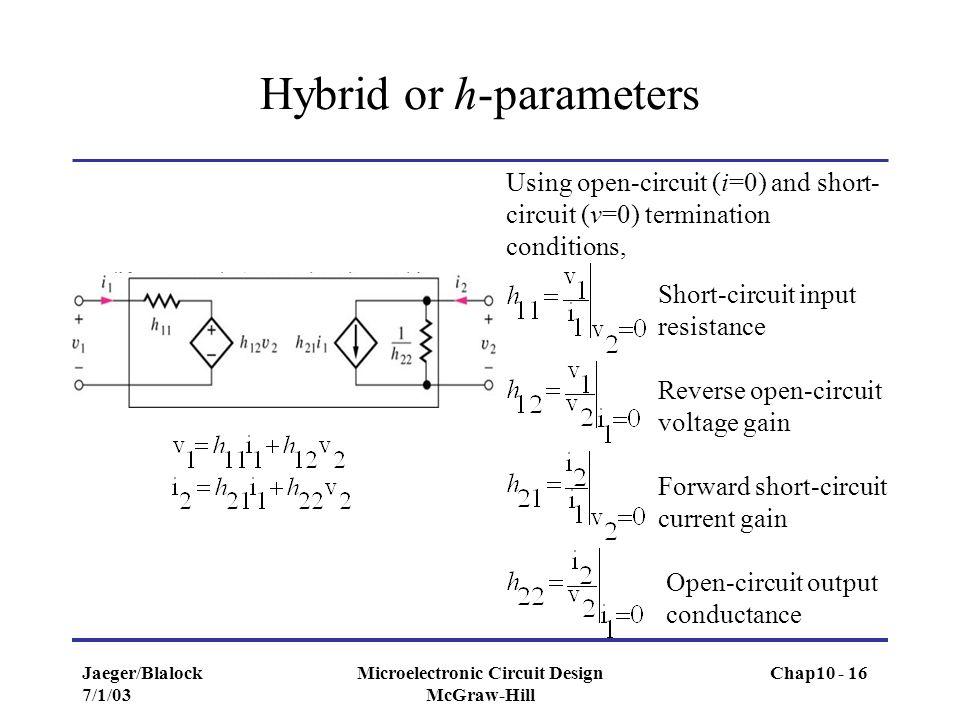 Hybrid or h-parameters