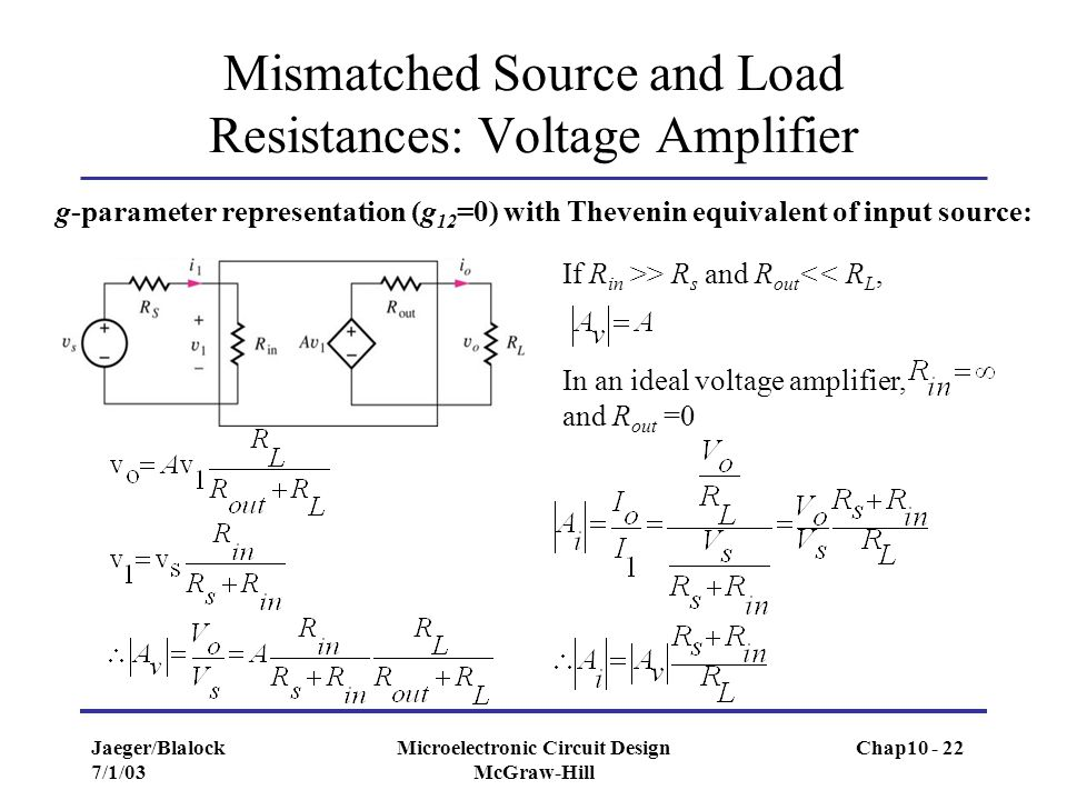 Mismatched Source and Load Resistances: Voltage Amplifier